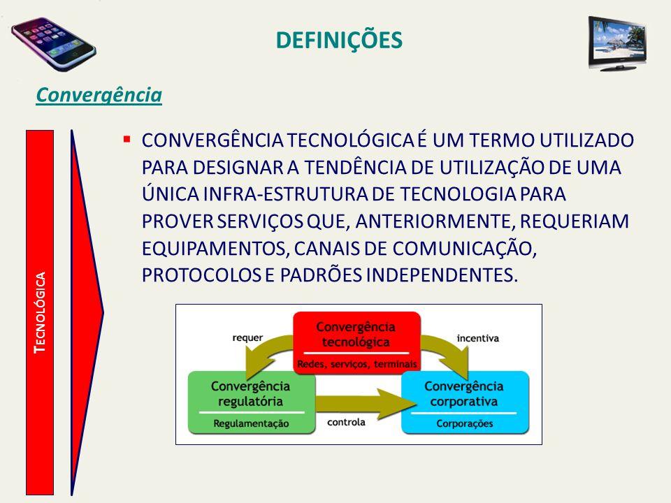 DEFINIÇÕES Convergência CONVERGÊNCIA TECNOLÓGICA É UM TERMO UTILIZADO PARA DESIGNAR A TENDÊNCIA DE UTILIZAÇÃO DE UMA ÚNICA INFRA-ESTRUTURA DE TECNOLOGIA PARA PROVER SERVIÇOS QUE, ANTERIORMENTE, REQUERIAM EQUIPAMENTOS, CANAIS DE COMUNICAÇÃO, PROTOCOLOS E PADRÕES INDEPENDENTES.