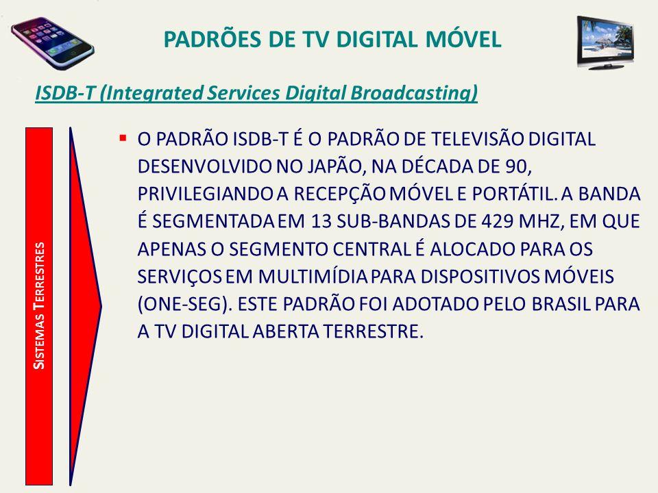 PADRÕES DE TV DIGITAL MÓVEL S ISTEMAS T ERRESTRES ISDB-T (Integrated Services Digital Broadcasting) O PADRÃO ISDB-T É O PADRÃO DE TELEVISÃO DIGITAL DESENVOLVIDO NO JAPÃO, NA DÉCADA DE 90, PRIVILEGIANDO A RECEPÇÃO MÓVEL E PORTÁTIL.