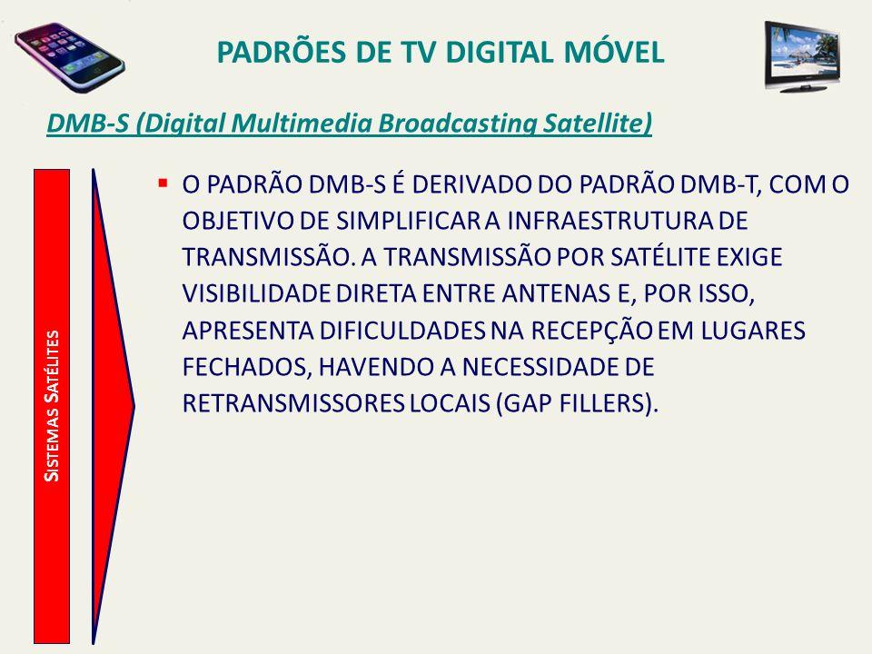 PADRÕES DE TV DIGITAL MÓVEL S ISTEMAS S ATÉLITES DMB-S (Digital Multimedia Broadcasting Satellite) O PADRÃO DMB-S É DERIVADO DO PADRÃO DMB-T, COM O OBJETIVO DE SIMPLIFICAR A INFRAESTRUTURA DE TRANSMISSÃO.