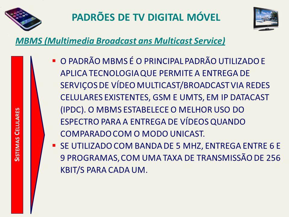PADRÕES DE TV DIGITAL MÓVEL S ISTEMAS C ELULARES MBMS (Multimedia Broadcast ans Multicast Service) O PADRÃO MBMS É O PRINCIPAL PADRÃO UTILIZADO E APLICA TECNOLOGIA QUE PERMITE A ENTREGA DE SERVIÇOS DE VÍDEO MULTICAST/BROADCAST VIA REDES CELULARES EXISTENTES, GSM E UMTS, EM IP DATACAST (IPDC).