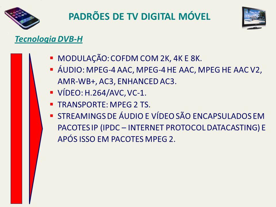 PADRÕES DE TV DIGITAL MÓVEL MODULAÇÃO: COFDM COM 2K, 4K E 8K.