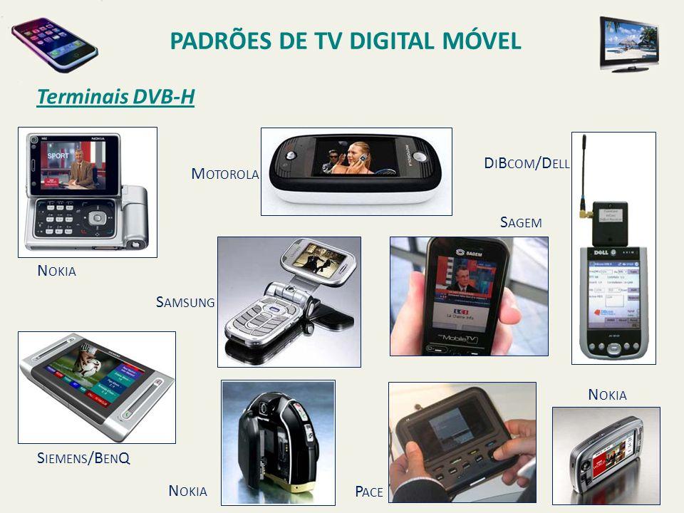 N OKIA M OTOROLA S AMSUNG S IEMENS /B EN Q N OKIA S AGEM P ACE D I B COM /D ELL N OKIA Terminais DVB-H PADRÕES DE TV DIGITAL MÓVEL