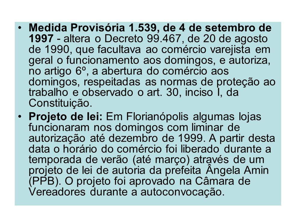 Medida Provisória 1.539, de 4 de setembro de 1997 - altera o Decreto 99.467, de 20 de agosto de 1990, que facultava ao comércio varejista em geral o f