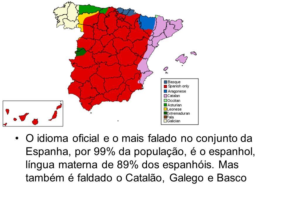 O idioma oficial e o mais falado no conjunto da Espanha, por 99% da população, é o espanhol, língua materna de 89% dos espanhóis.
