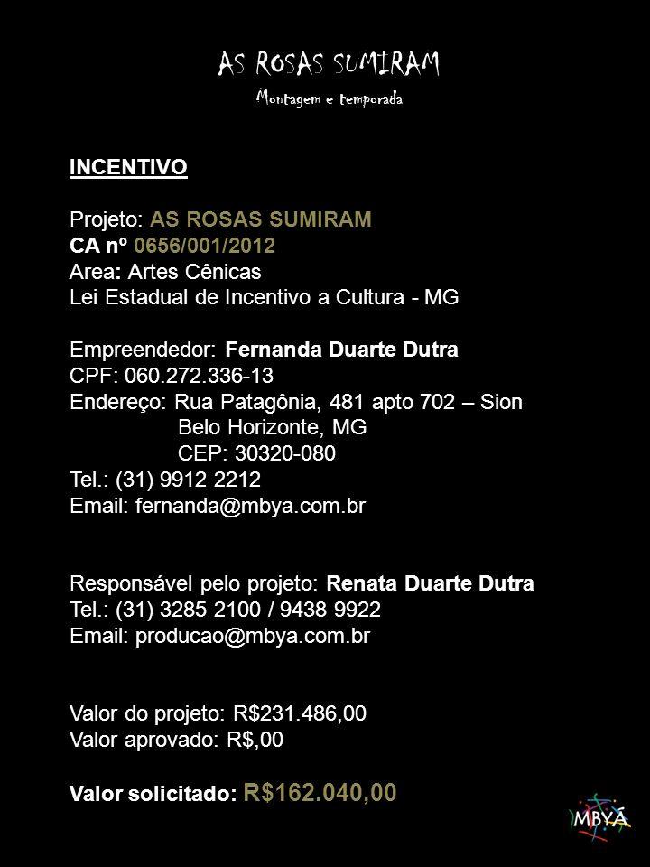 INCENTIVO Projeto: AS ROSAS SUMIRAM CA nº 0656/001/2012 Area: Artes Cênicas Lei Estadual de Incentivo a Cultura - MG Empreendedor: Fernanda Duarte Dutra CPF: 060.272.336-13 Endereço: Rua Patagônia, 481 apto 702 – Sion Belo Horizonte, MG CEP: 30320-080 Tel.: (31) 9912 2212 Email: fernanda@mbya.com.br Responsável pelo projeto: Renata Duarte Dutra Tel.: (31) 3285 2100 / 9438 9922 Email: producao@mbya.com.br Valor do projeto: R$231.486,00 Valor aprovado: R$,00 Valor solicitado: R$162.040,00