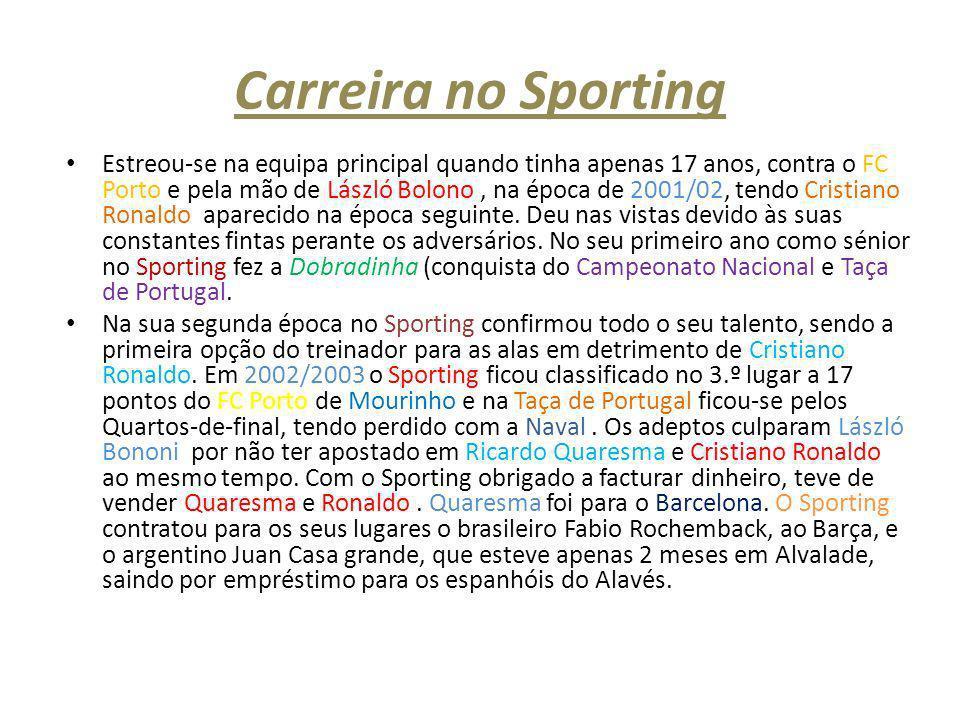 Carreira no Sporting Estreou-se na equipa principal quando tinha apenas 17 anos, contra o FC Porto e pela mão de László Bolono, na época de 2001/02, t