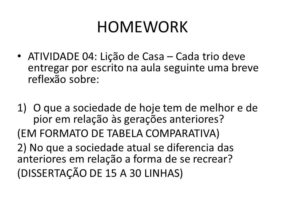 HOMEWORK ATIVIDADE 04: Lição de Casa – Cada trio deve entregar por escrito na aula seguinte uma breve reflexão sobre: 1)O que a sociedade de hoje tem