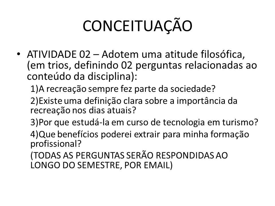 CONCEITUAÇÃO ATIVIDADE 02 – Adotem uma atitude filosófica, (em trios, definindo 02 perguntas relacionadas ao conteúdo da disciplina): 1)A recreação se