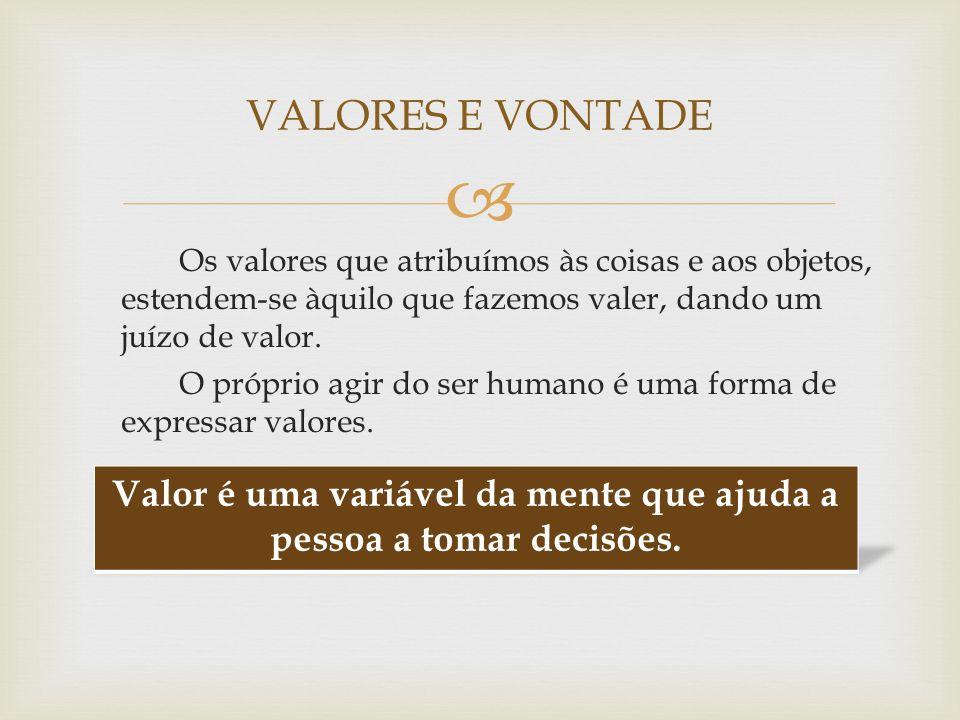 Os valores que atribuímos às coisas e aos objetos, estendem-se àquilo que fazemos valer, dando um juízo de valor. O próprio agir do ser humano é uma f