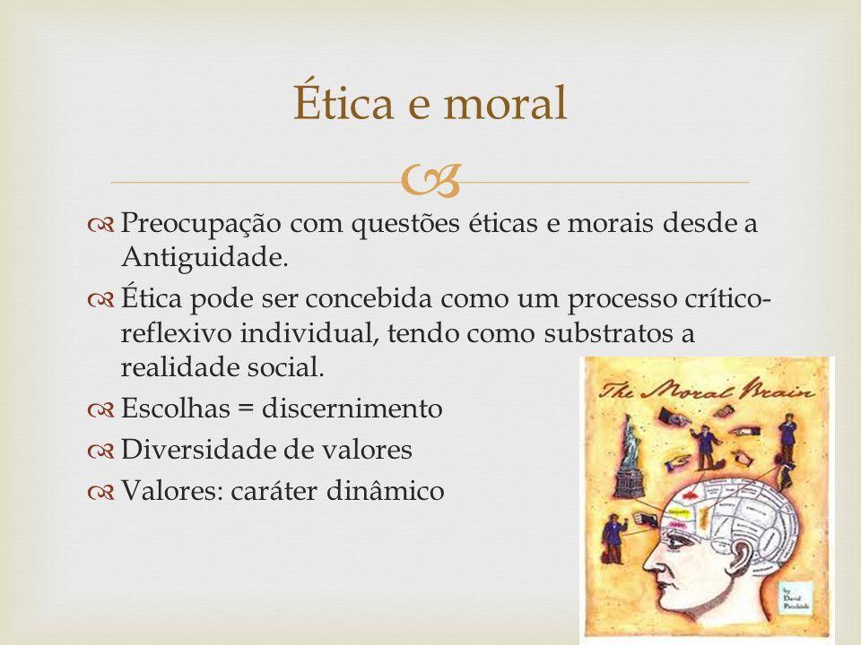Preocupação com questões éticas e morais desde a Antiguidade. Ética pode ser concebida como um processo crítico- reflexivo individual, tendo como subs