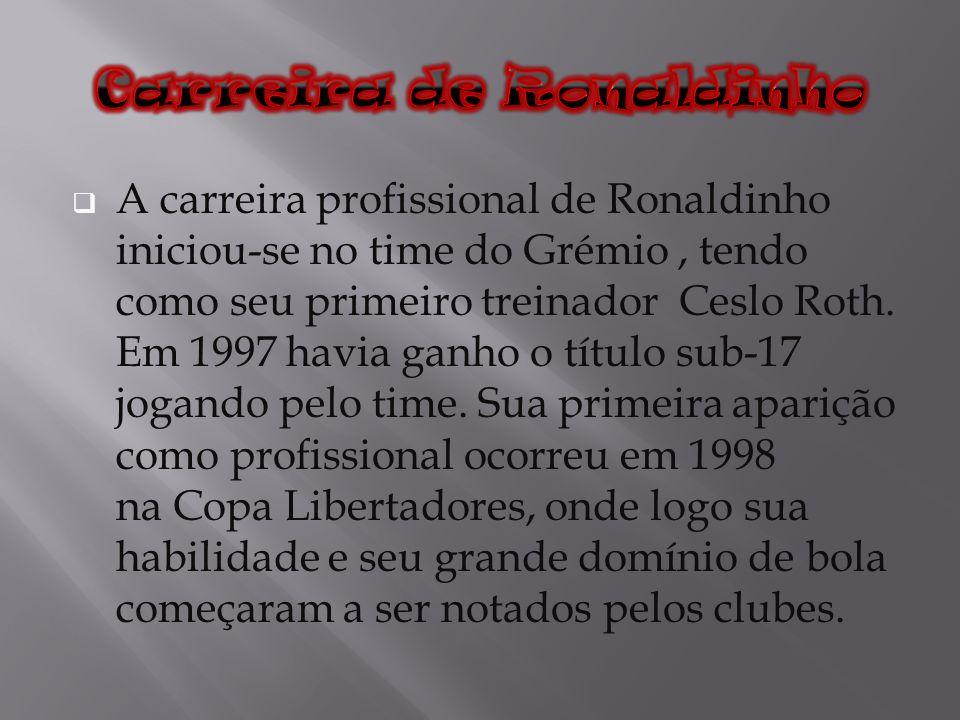 A carreira profissional de Ronaldinho iniciou-se no time do Grémio, tendo como seu primeiro treinador Ceslo Roth. Em 1997 havia ganho o título sub-17