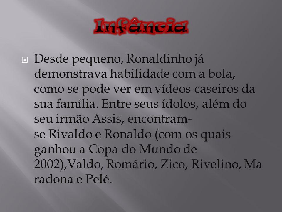 Desde pequeno, Ronaldinho já demonstrava habilidade com a bola, como se pode ver em vídeos caseiros da sua família. Entre seus ídolos, além do seu irm