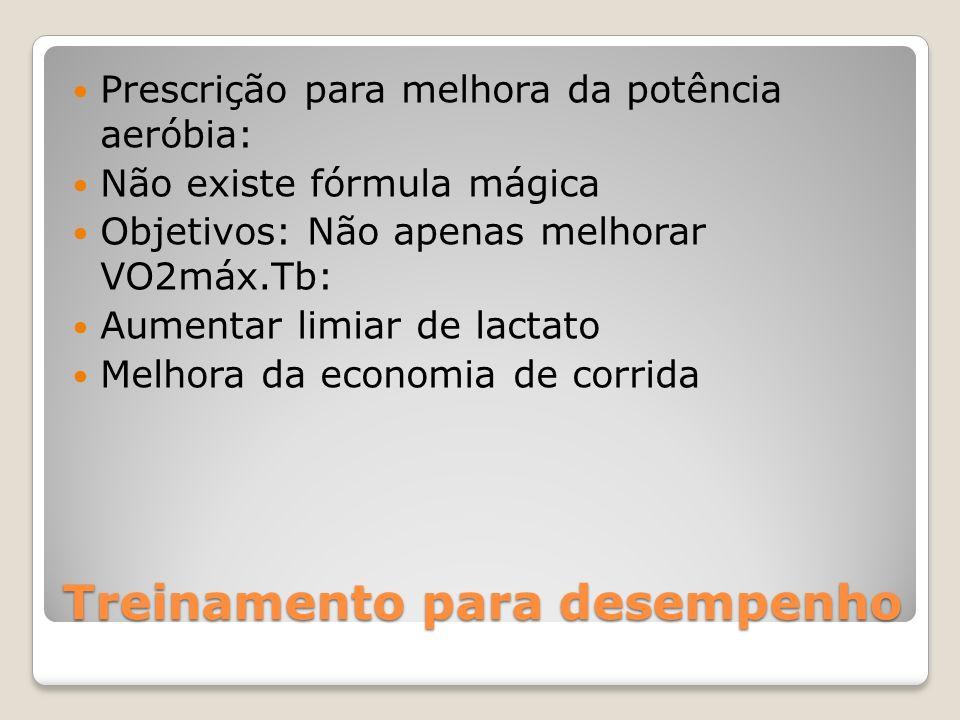 Treinamento para desempenho Prescrição para melhora da potência aeróbia: Não existe fórmula mágica Objetivos: Não apenas melhorar VO2máx.Tb: Aumentar limiar de lactato Melhora da economia de corrida