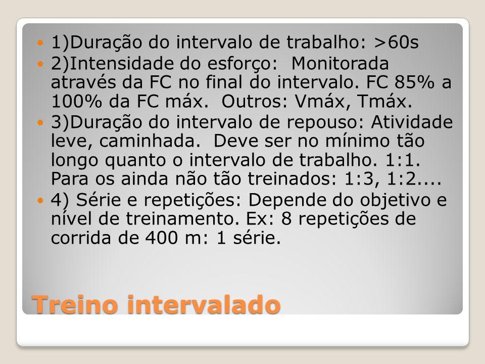 Treino intervalado 1)Duração do intervalo de trabalho: >60s 2)Intensidade do esforço: Monitorada através da FC no final do intervalo.