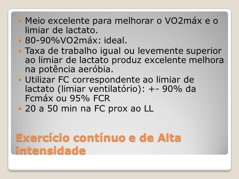 Exercício contínuo e de Alta intensidade Meio excelente para melhorar o VO2máx e o limiar de lactato.