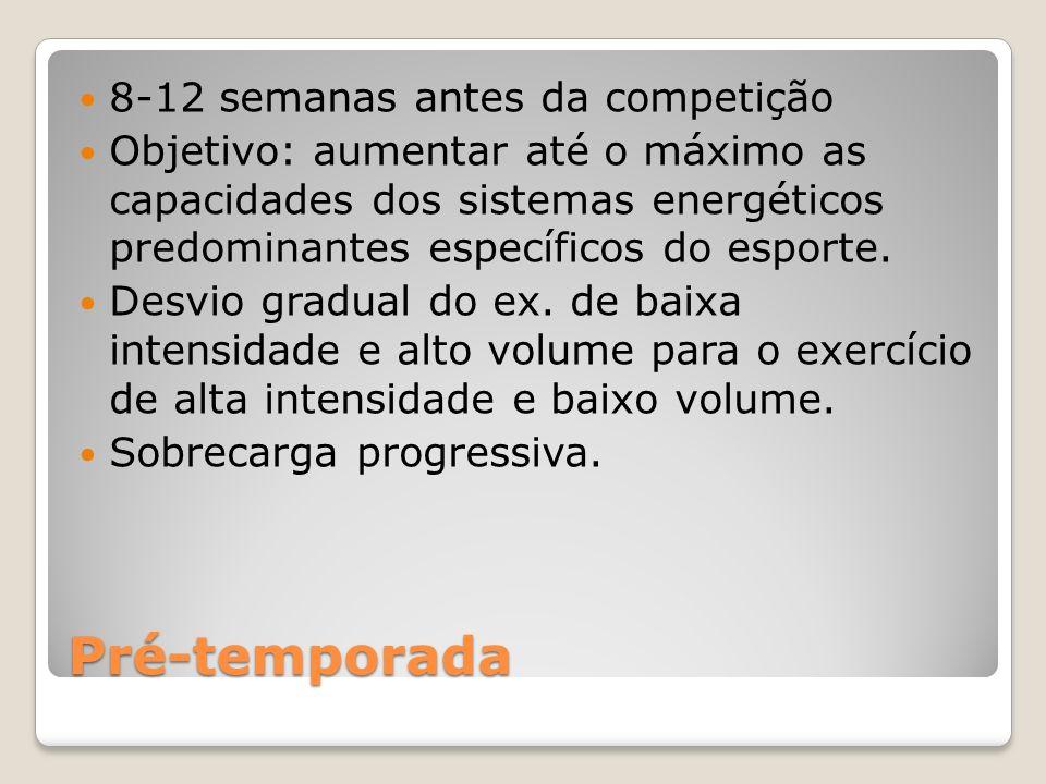Pré-temporada 8-12 semanas antes da competição Objetivo: aumentar até o máximo as capacidades dos sistemas energéticos predominantes específicos do esporte.