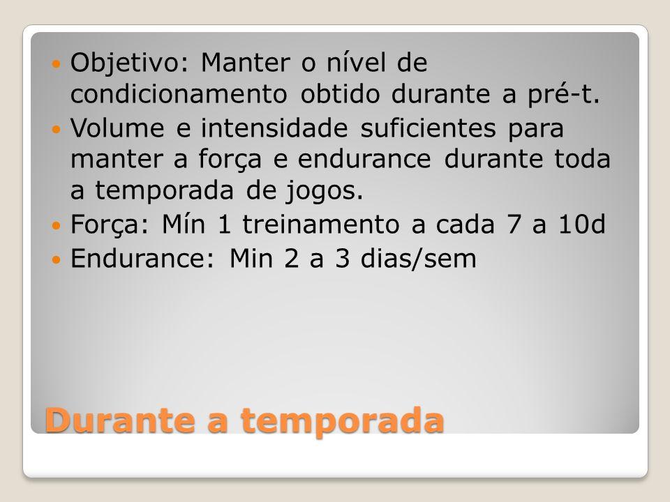 Durante a temporada Objetivo: Manter o nível de condicionamento obtido durante a pré-t.
