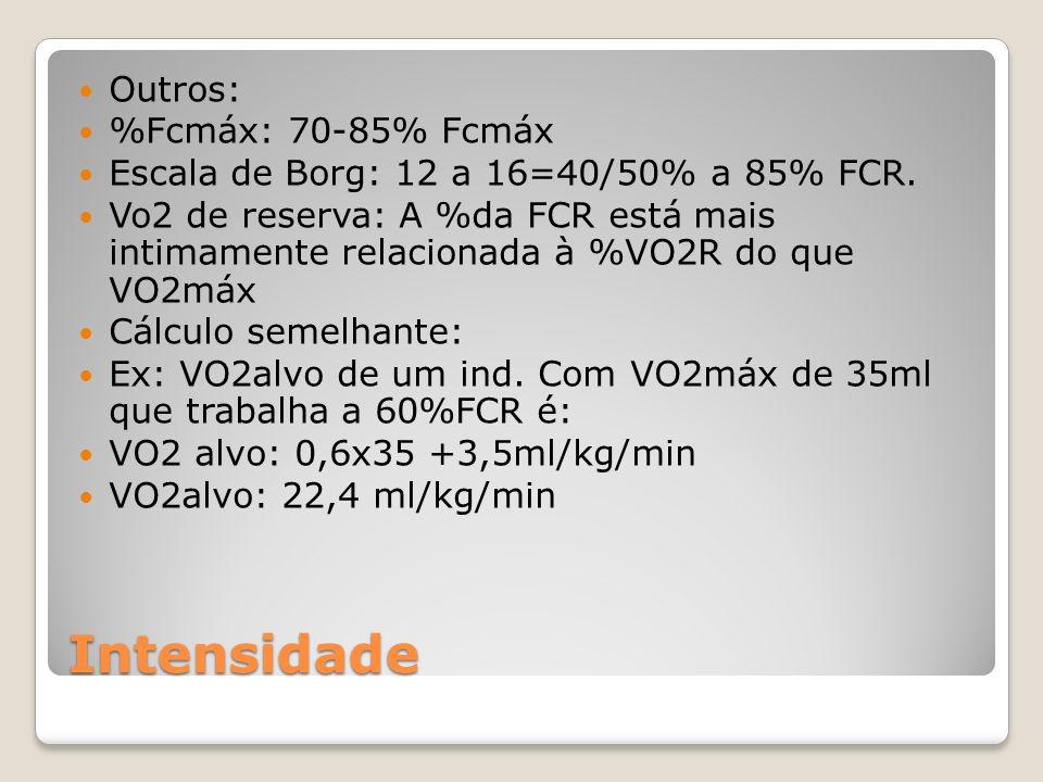 Intensidade Outros: %Fcmáx: 70-85% Fcmáx Escala de Borg: 12 a 16=40/50% a 85% FCR.