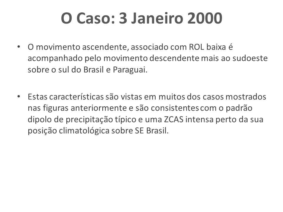O Caso: 3 Janeiro 2000 O movimento ascendente, associado com ROL baixa é acompanhado pelo movimento descendente mais ao sudoeste sobre o sul do Brasil