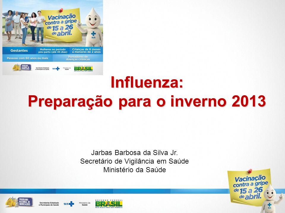 Influenza: Preparação para o inverno 2013 Jarbas Barbosa da Silva Jr. Secretário de Vigilância em Saúde Ministério da Saúde