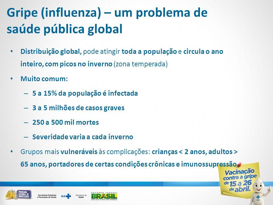 Gripe (influenza) – um problema de saúde pública global Distribuição global, pode atingir toda a população e circula o ano inteiro, com picos no inver
