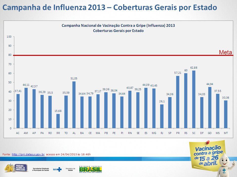 Campanha de Influenza 2013 – Coberturas Gerais por Estado Meta Fonte: http://pni.datasus.gov.br acesso em 24/04/2013 às 16:46hhttp://pni.datasus.gov.b