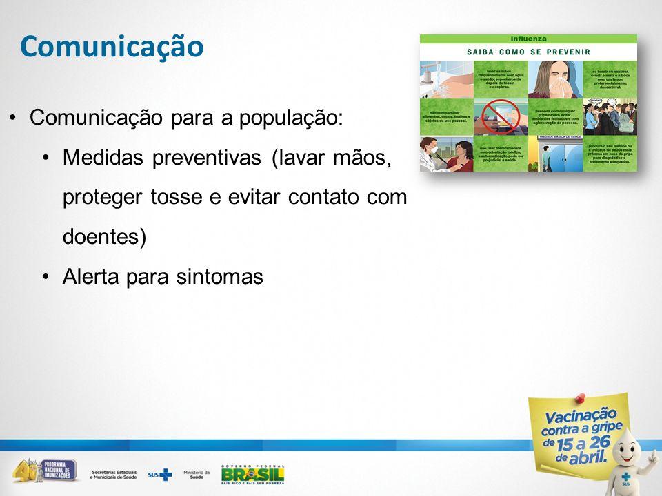 Comunicação para a população: Medidas preventivas (lavar mãos, proteger tosse e evitar contato com doentes) Alerta para sintomas Comunicação