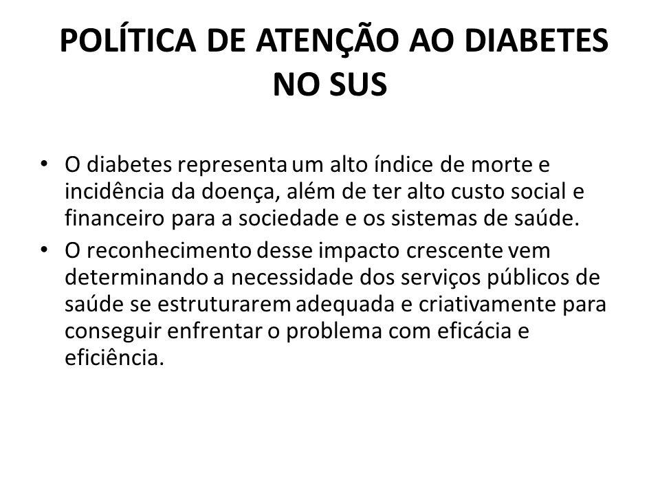 POLÍTICA DE ATENÇÃO AO DIABETES NO SUS O diabetes representa um alto índice de morte e incidência da doença, além de ter alto custo social e financeir