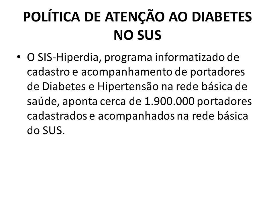 POLÍTICA DE ATENÇÃO AO DIABETES NO SUS O SIS-Hiperdia, programa informatizado de cadastro e acompanhamento de portadores de Diabetes e Hipertensão na