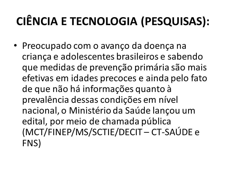CIÊNCIA E TECNOLOGIA (PESQUISAS): Preocupado com o avanço da doença na criança e adolescentes brasileiros e sabendo que medidas de prevenção primária