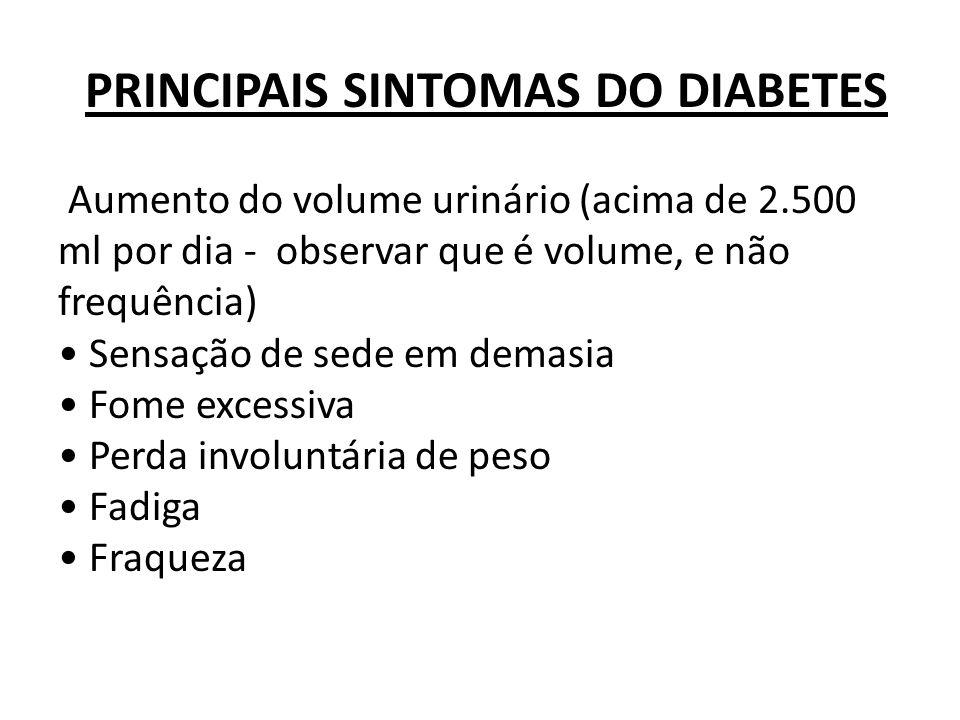PRINCIPAIS SINTOMAS DO DIABETES Aumento do volume urinário (acima de 2.500 ml por dia - observar que é volume, e não frequência) Sensação de sede em d