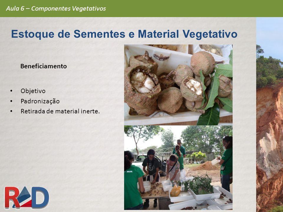 Beneficiamento Objetivo Padronização Retirada de material inerte. Aula 6 – Componentes Vegetativos Estoque de Sementes e Material Vegetativo