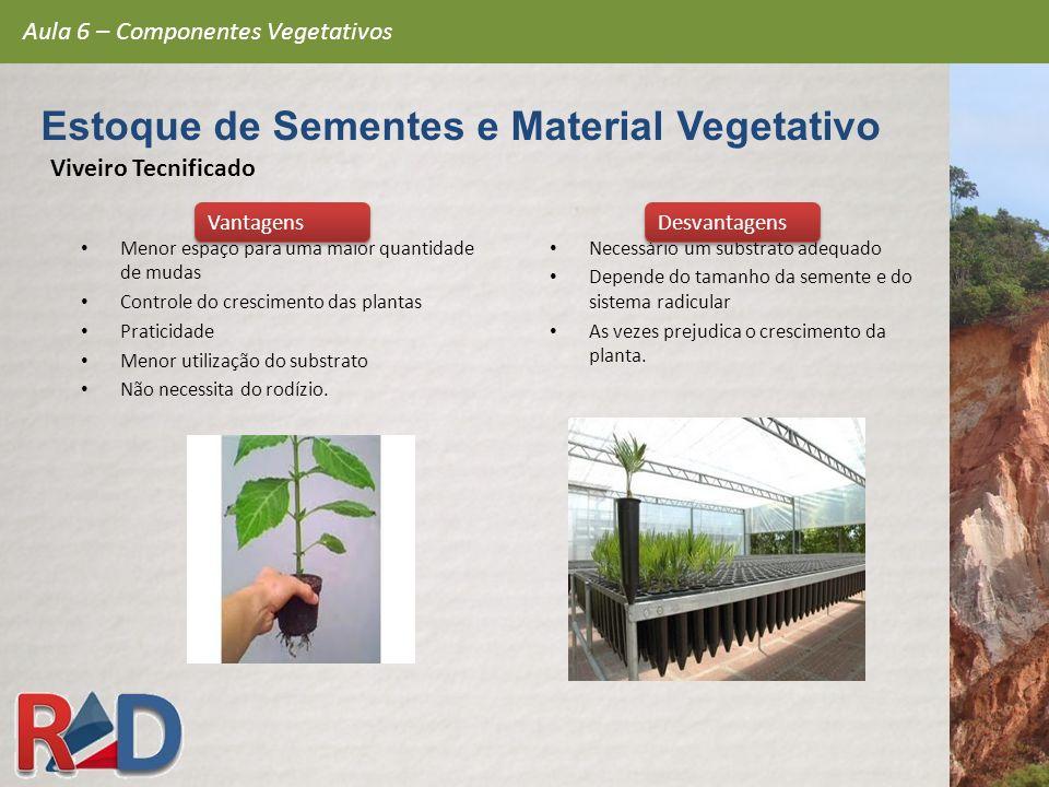 Viveiro Tecnificado Menor espaço para uma maior quantidade de mudas Controle do crescimento das plantas Praticidade Menor utilização do substrato Não