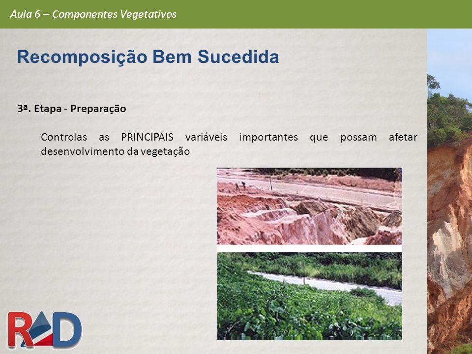 3ª. Etapa - Preparação Controlas as PRINCIPAIS variáveis importantes que possam afetar o desenvolvimento da vegetação Aula 6 – Componentes Vegetativos