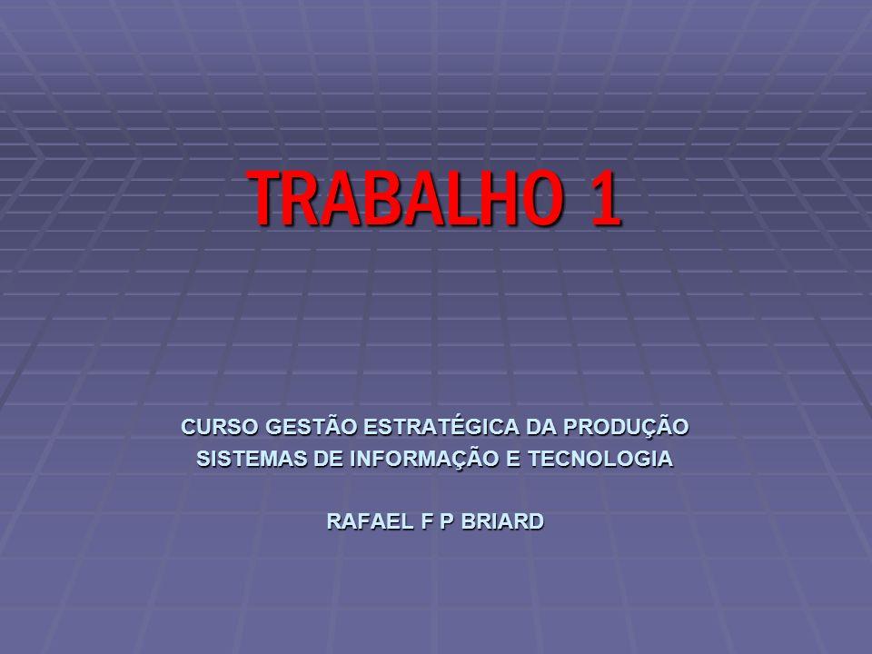 CURSO GESTÃO ESTRATÉGICA DA PRODUÇÃO SISTEMAS DE INFORMAÇÃO E TECNOLOGIA RAFAEL F P BRIARD TRABALHO 1