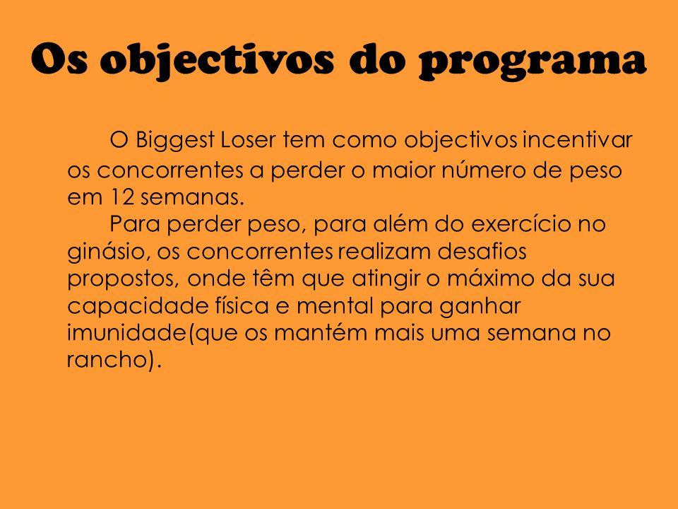 Os objectivos do programa O Biggest Loser tem como objectivos incentivar os concorrentes a perder o maior número de peso em 12 semanas.