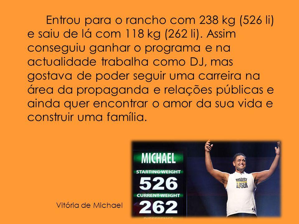 Entrou para o rancho com 238 kg (526 li) e saiu de lá com 118 kg (262 li).