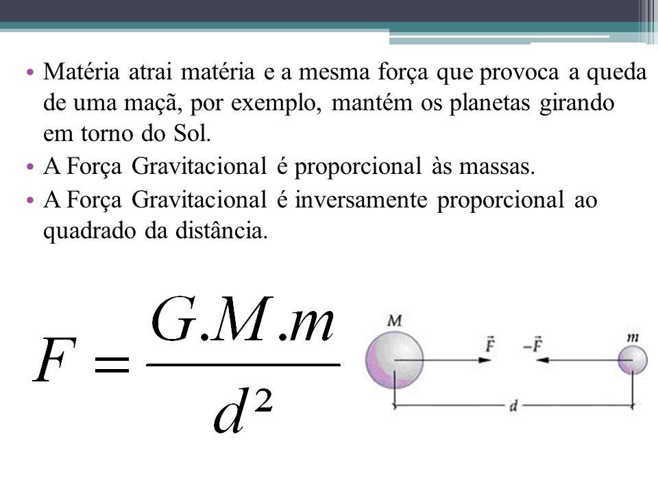 Matéria atrai matéria e a mesma força que provoca a queda de uma maçã, por exemplo, mantém os planetas girando em torno do Sol. A Força Gravitacional