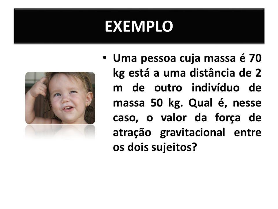 EXEMPLO Uma pessoa cuja massa é 70 kg está a uma distância de 2 m de outro indivíduo de massa 50 kg.