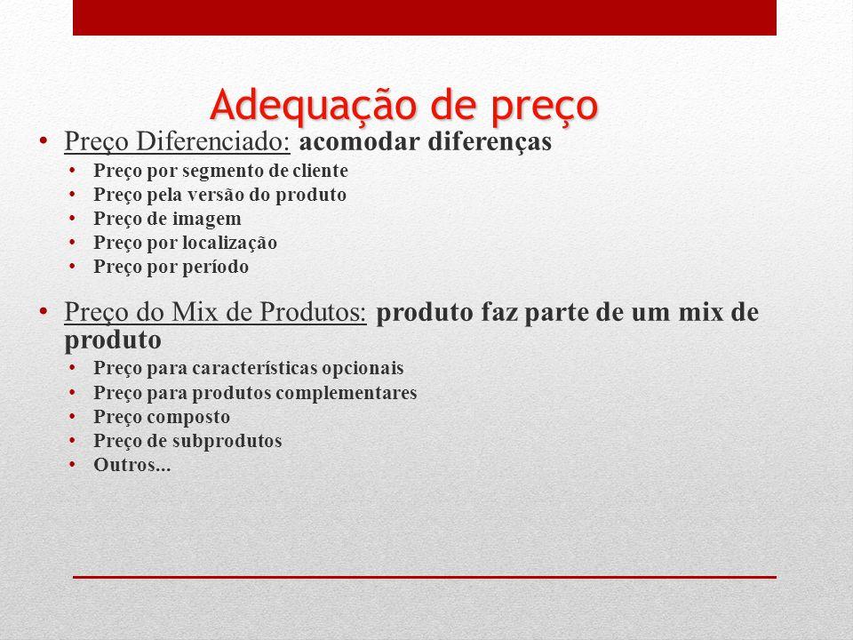 Preço Diferenciado: acomodar diferenças Preço por segmento de cliente Preço pela versão do produto Preço de imagem Preço por localização Preço por per