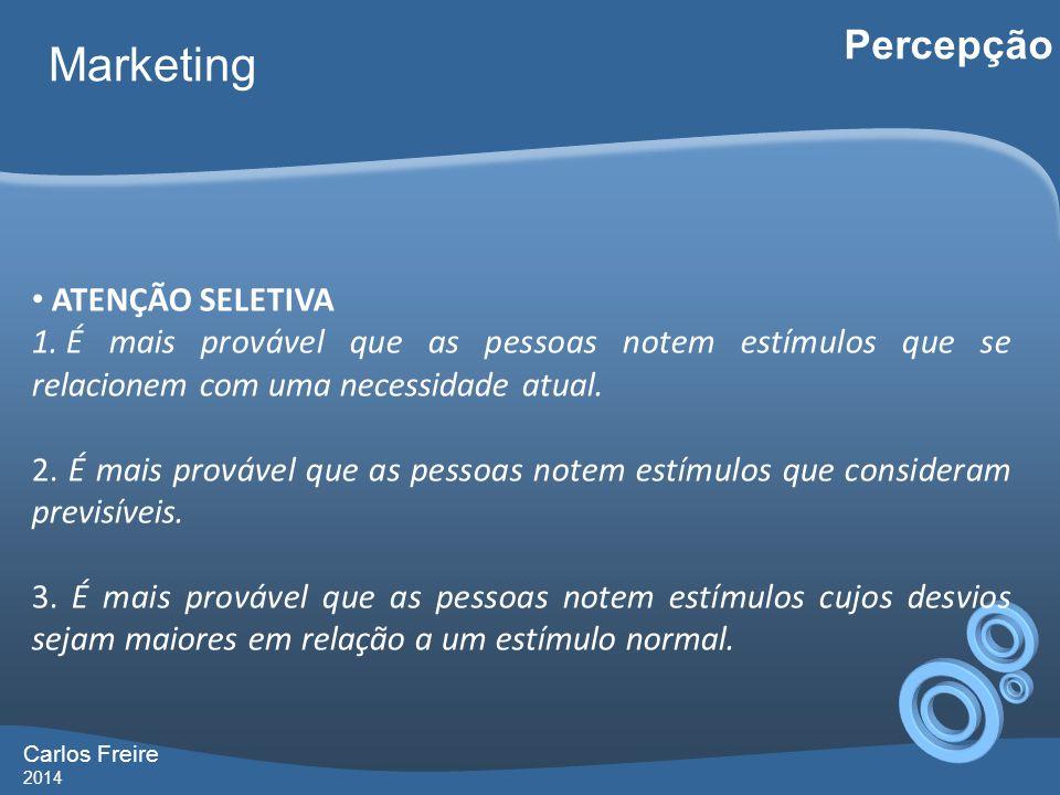 Carlos Freire 2014 Marketing Percepção ATENÇÃO SELETIVA 1. É mais provável que as pessoas notem estímulos que se relacionem com uma necessidade atual.