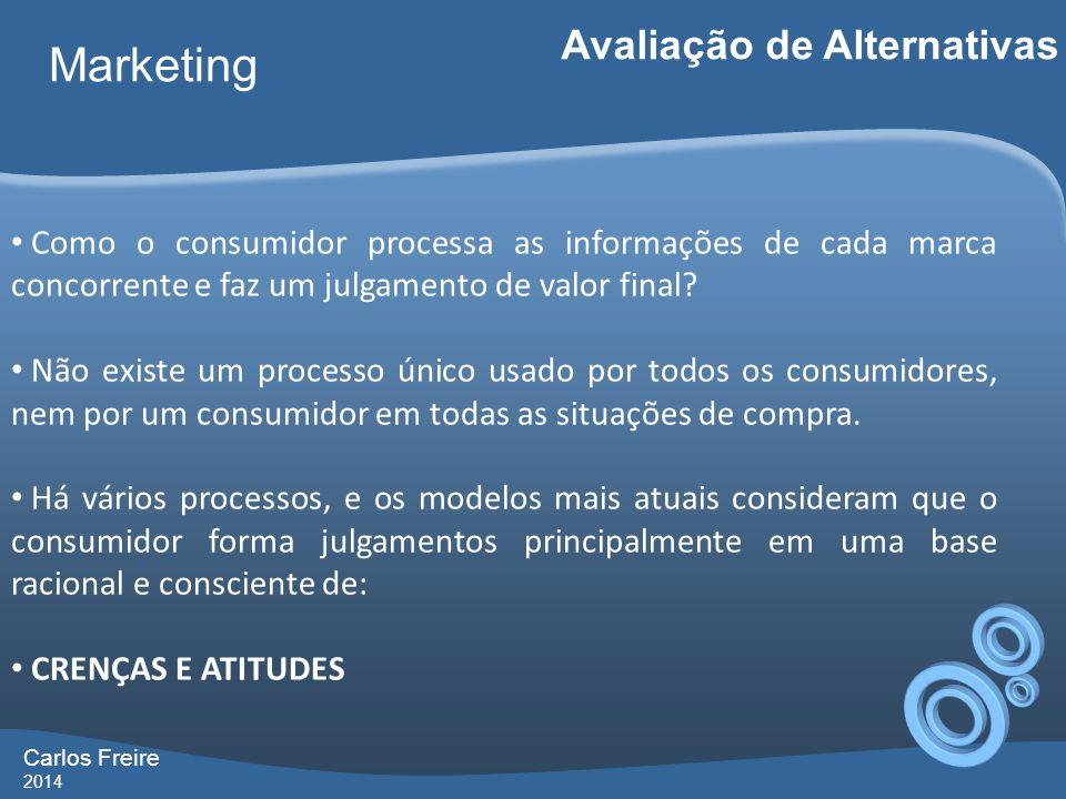Carlos Freire 2014 Marketing Avaliação de Alternativas Como o consumidor processa as informações de cada marca concorrente e faz um julgamento de valo