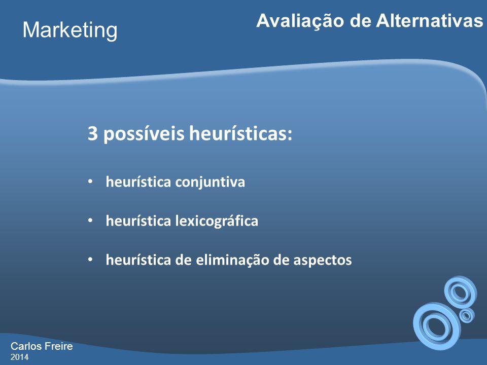 Carlos Freire 2014 Marketing Avaliação de Alternativas 3 possíveis heurísticas: heurística conjuntiva heurística lexicográfica heurística de eliminaçã