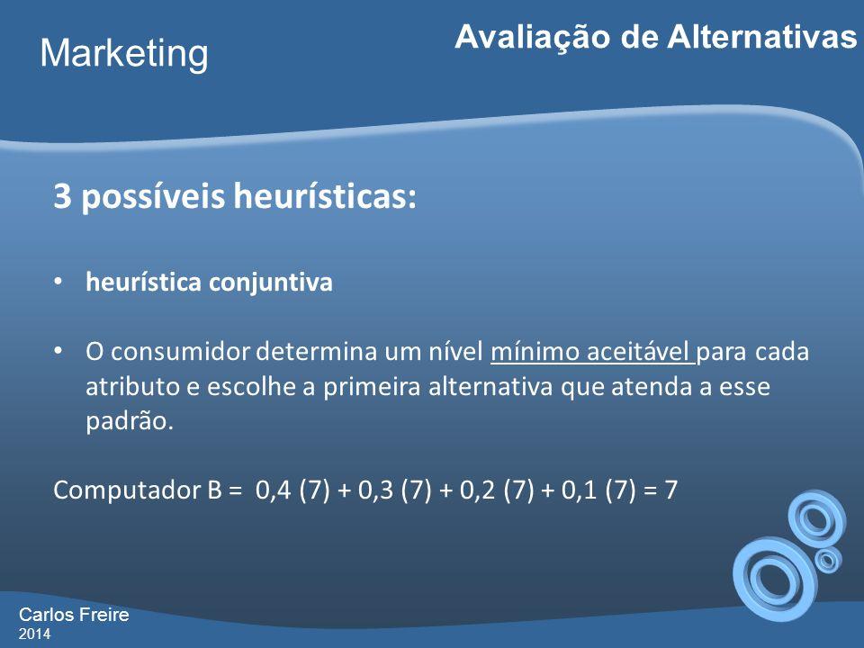 Carlos Freire 2014 Marketing Avaliação de Alternativas 3 possíveis heurísticas: heurística conjuntiva O consumidor determina um nível mínimo aceitável