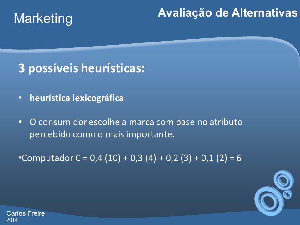 Carlos Freire 2014 Marketing Avaliação de Alternativas 3 possíveis heurísticas: heurística lexicográfica O consumidor escolhe a marca com base no atri