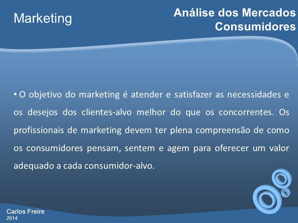 Carlos Freire 2014 Marketing Análise dos Mercados Consumidores O objetivo do marketing é atender e satisfazer as necessidades e os desejos dos cliente