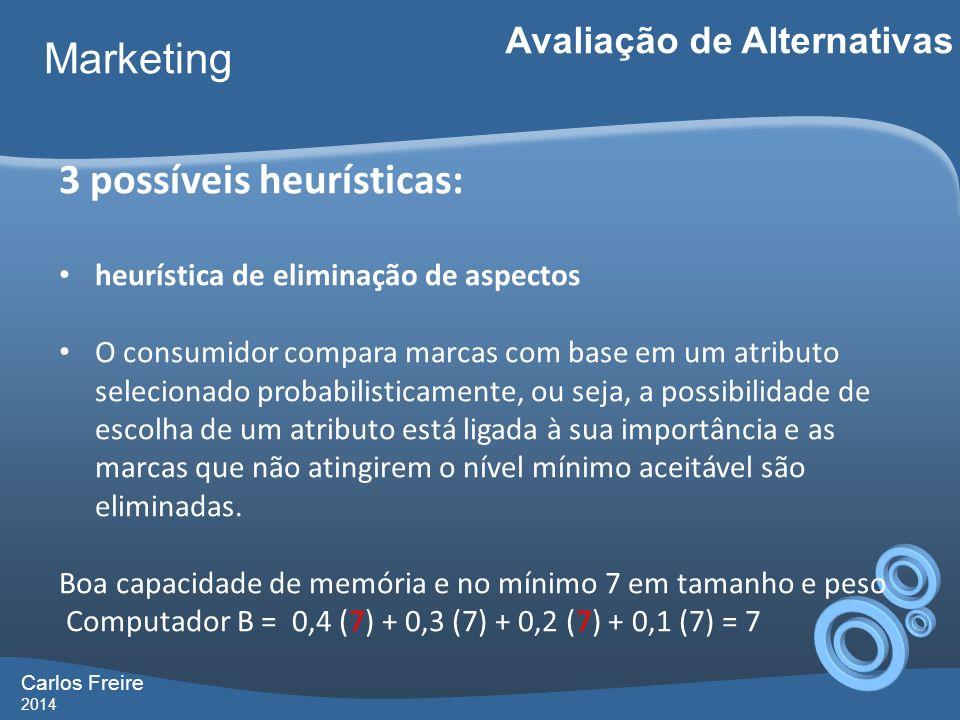 Carlos Freire 2014 Marketing Avaliação de Alternativas 3 possíveis heurísticas: heurística de eliminação de aspectos O consumidor compara marcas com b