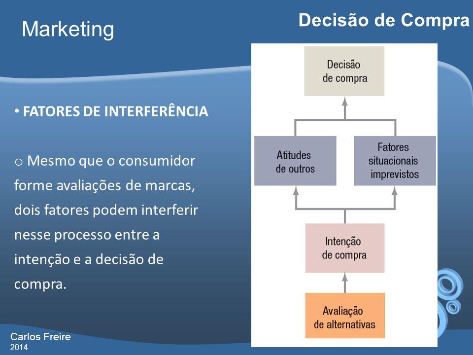 Carlos Freire 2014 Marketing Decisão de Compra FATORES DE INTERFERÊNCIA o Mesmo que o consumidor forme avaliações de marcas, dois fatores podem interf