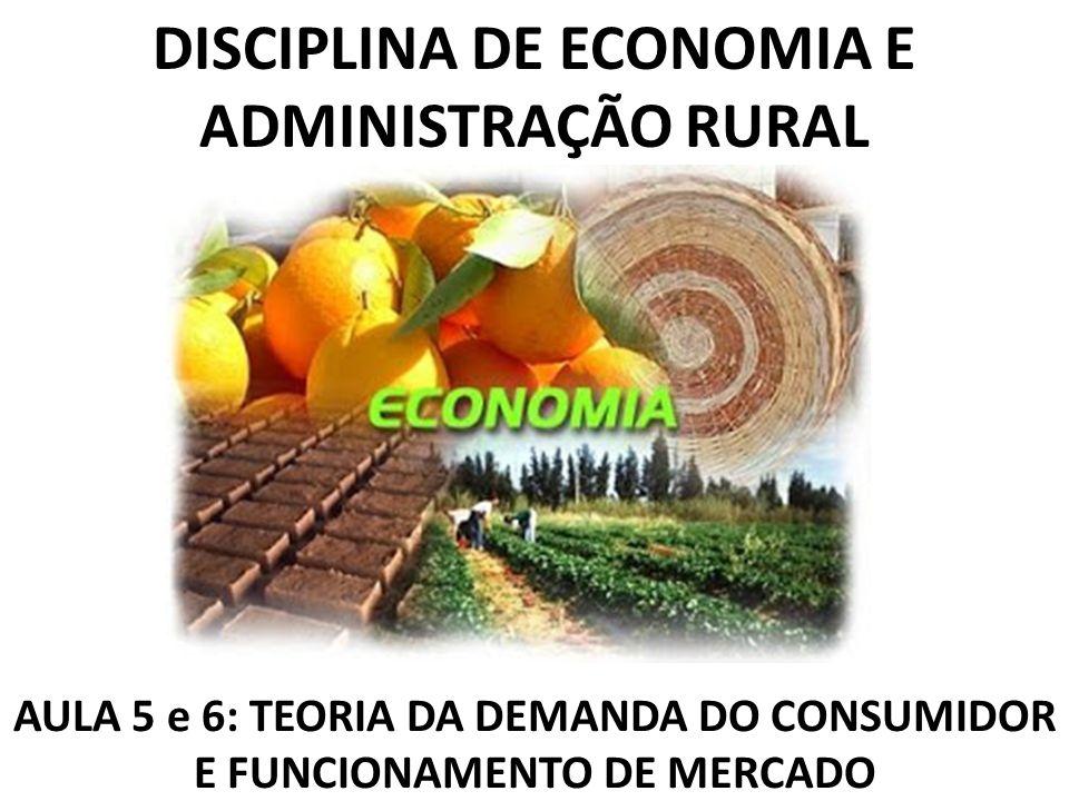 DISCIPLINA DE ECONOMIA E ADMINISTRAÇÃO RURAL AULA 5 e 6: TEORIA DA DEMANDA DO CONSUMIDOR E FUNCIONAMENTO DE MERCADO
