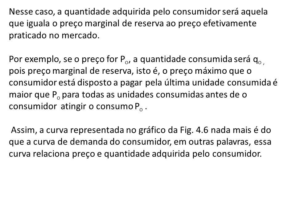 Nesse caso, a quantidade adquirida pelo consumidor será aquela que iguala o preço marginal de reserva ao preço efetivamente praticado no mercado. Por